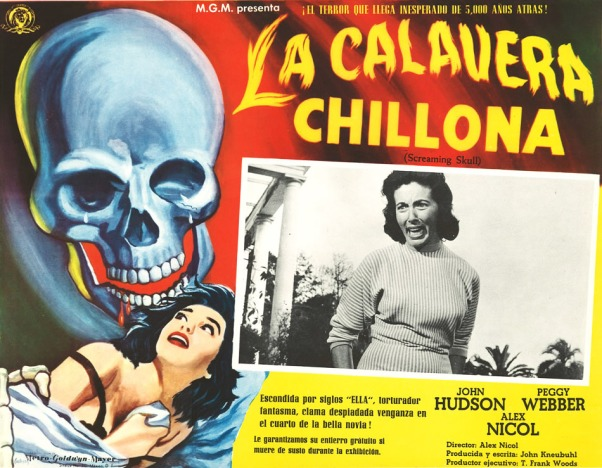 screaming skull mexican lobby card calavera chillona