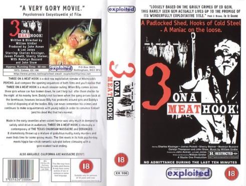 3 on a meathook UK exploited VHS sleeve