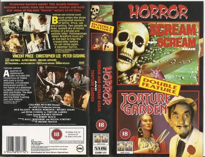 scream and scream again + torture garden columbia tristar british vhs