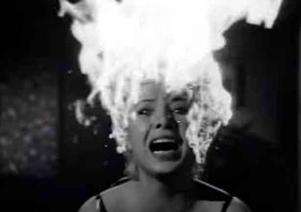 Image result for woman with hair on fire