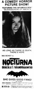 Nocturna Granddaughter of Dracula Newspaper Ad Nai Bonet