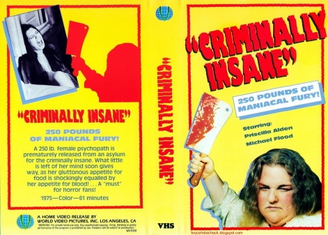 Criminally Insane US World Video VHS
