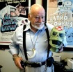 RALPH FOUNTAIN/REVIEW-JOURNALDirector Ted Mikels holds an astro zombie mask at his office at 3230 Hacienda 10/22/07.